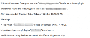 Wordfence problems email