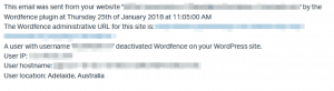 wordfence deactivated message