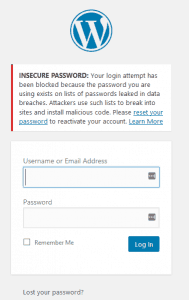 WP insecure login or password
