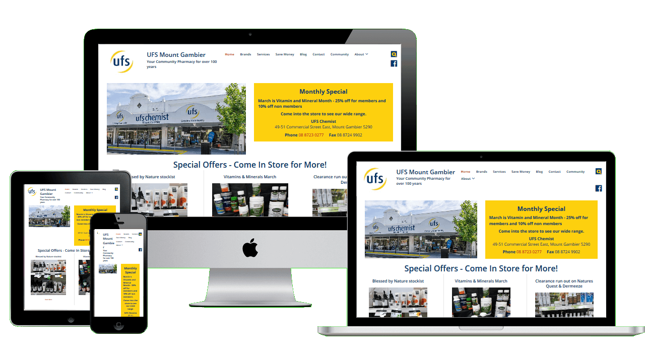 UFS Chemist Mount Gambier after migration to and redesign in WordPress