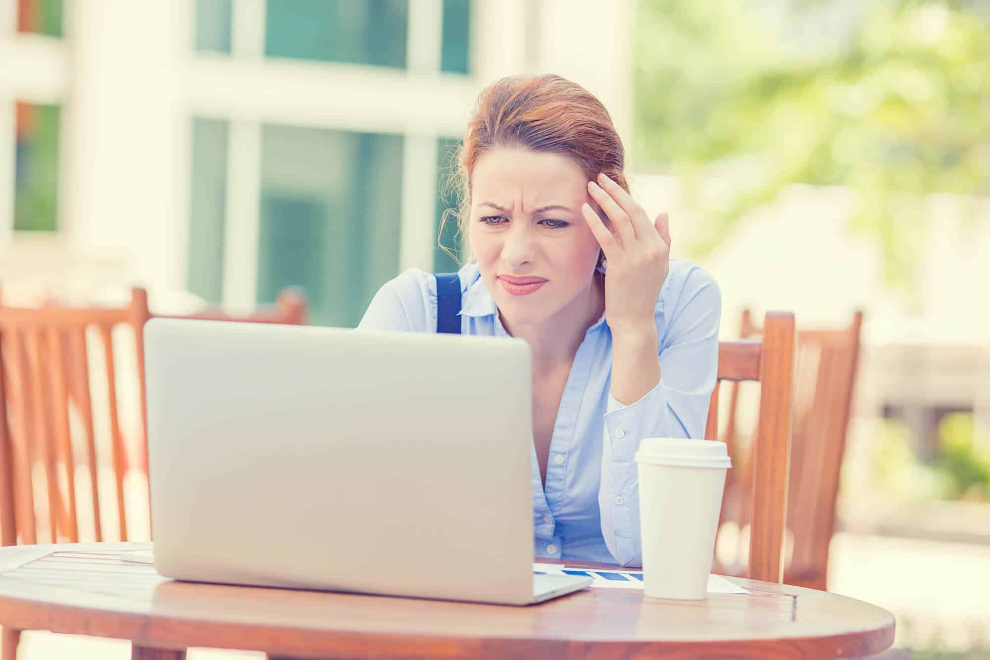 woman confused with her WordPress website